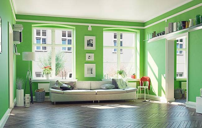 living-room-green-color