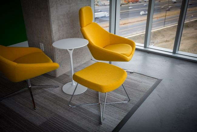 white-table-yellow-chairs